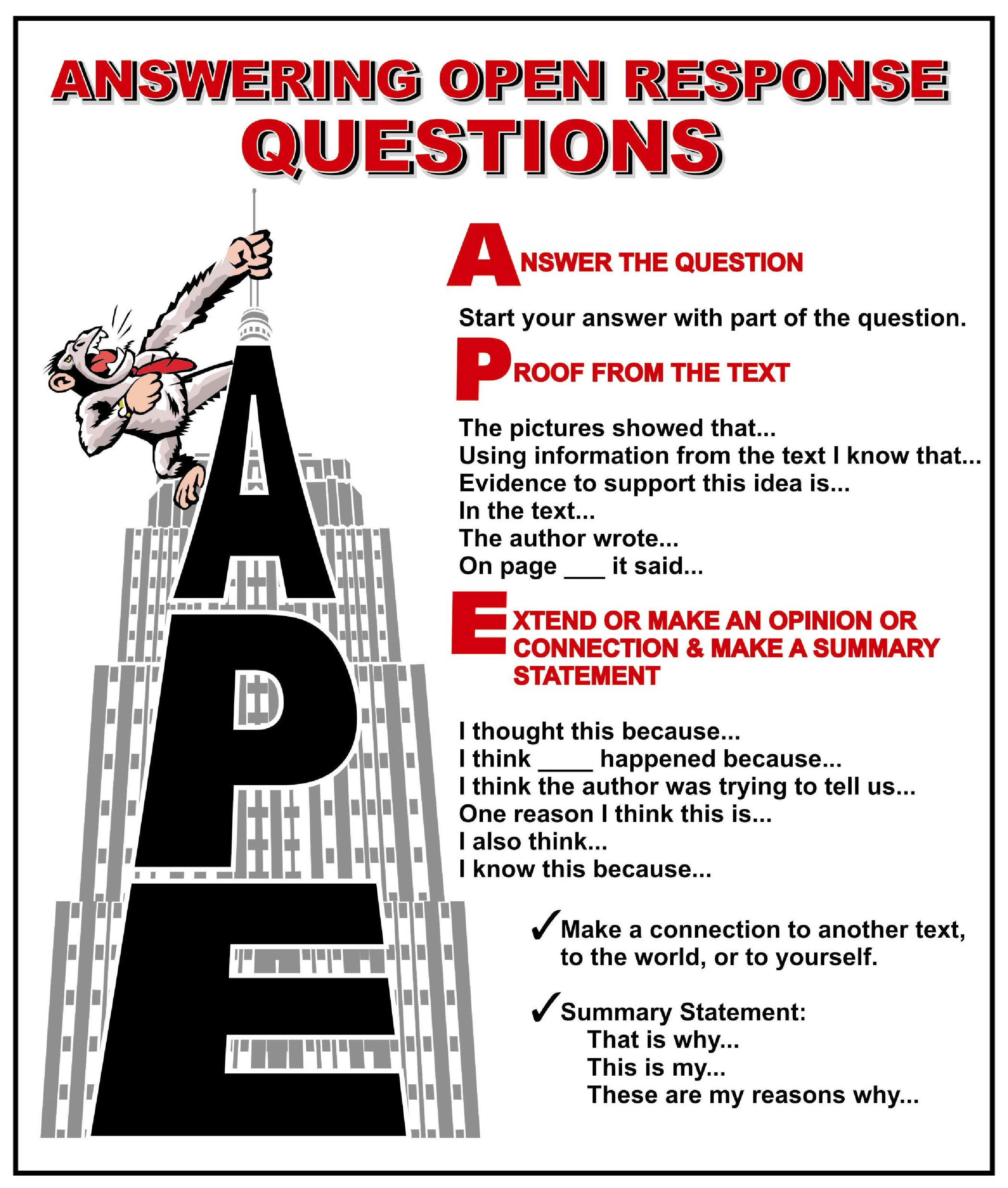 aces strategy for answering short answer responses examples
